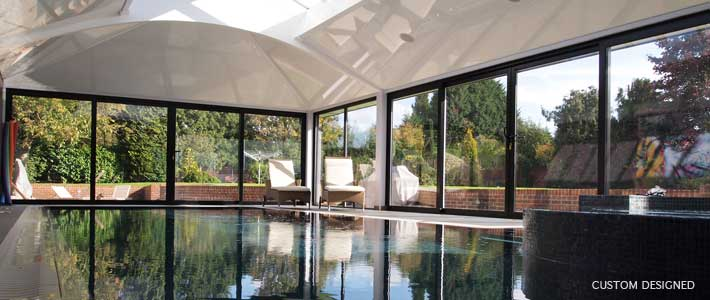Custom designed swimming pool house extension Christopher Hunt Marlow Bucks