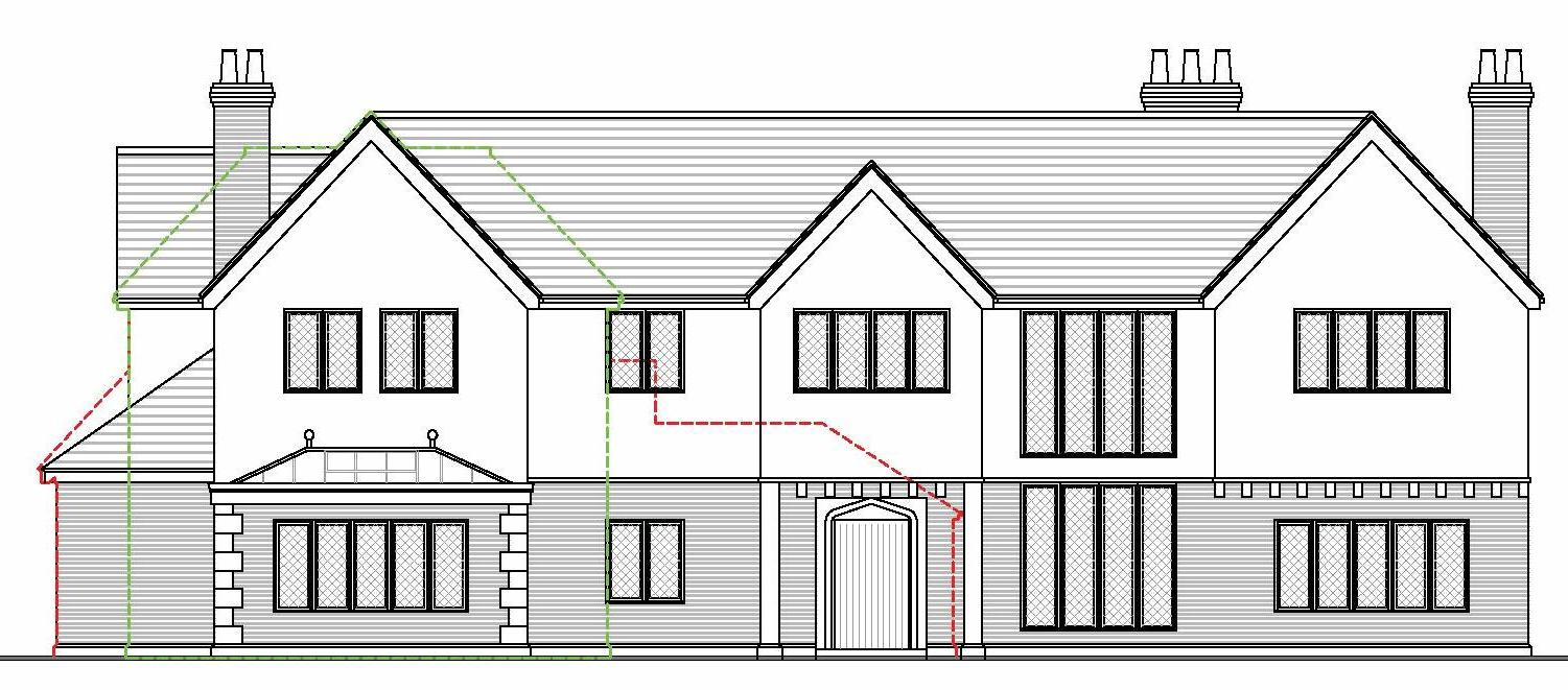 proposed front elevation of extended house in green belt christopher hunt buckinghamshire