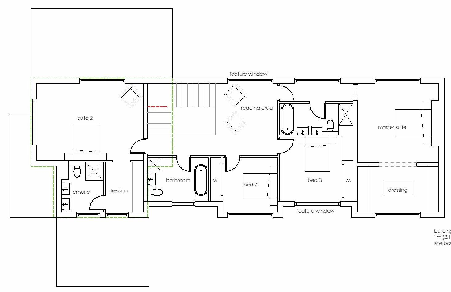 proposed first floor plan of extended house in green belt architects in marlow